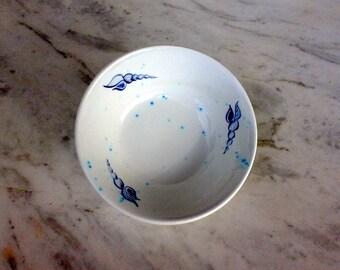 ceramic cereal bowl, handmade,  sea shell motif, 18 cm diameter,