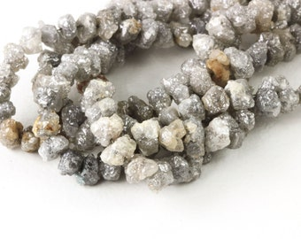 HUGE Rough Diamond Beads Grey With Light Browns Rough Diamonds Luxe Uncut 3 to 6mm, .33ct to 2.18ct  Chose The Size Of ct You Would Like KJ