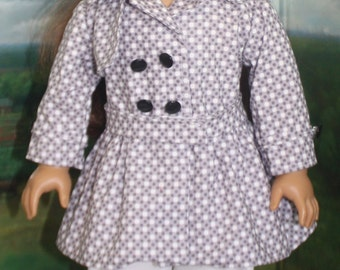 American Girl Style Trench Coat in Gray Dots
