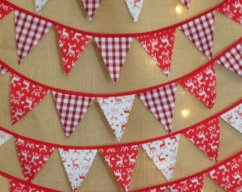 Nordic Christmas Mini Bunting - Choose Your Own Length - From 1 Metre -  Scandinavian Stags and Gingham -Red and White - Red Tape