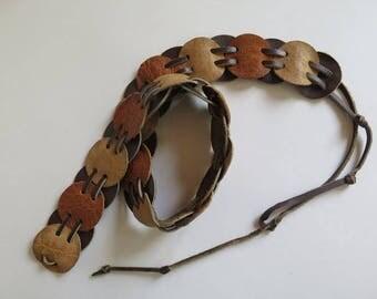 Hippy belt//Brown Leather 60's Belt