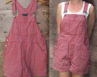 Vintage Red Checkered Cotton Shortalls Overalls by No Boundaries - Juniors 11/13 - Women's size Small/Medium