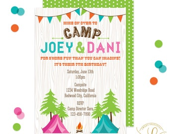 Camping Invitation | Camping Party | Twin Birthday Invitation | Twin Birthday Party | Sleepover Invitation | Camping Sleepover