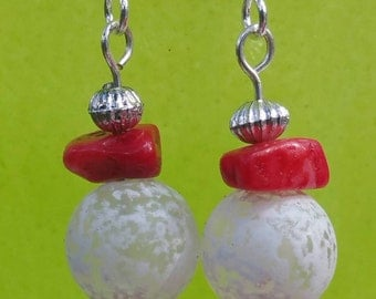 Handmade Red and White Earrings