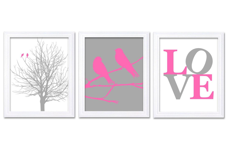 Bird Nursery Art Tree Branch Prints Set of 3 LOVE Hot Pink Grey Gray Baby Wall Decor Tree Nursery Ar