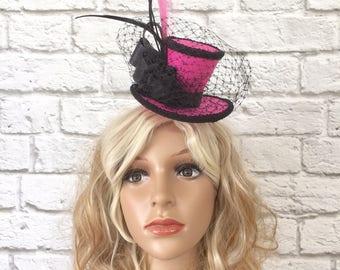 Spring Racing Mini Top Hat, Spring Racing Fascinator, Pink Fascinator Mini Top Hat, Pink & Black Fascinator