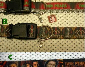 """Twin Peaks *NEW**  Fire Walk with Me inspired adjustable 1"""" wide Dog collar Owl or Limited Laura Palmer charm LEASHES & key fobs available"""