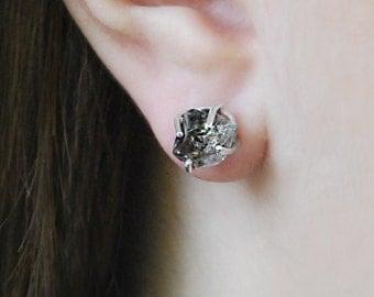 Sterling Silver Earrings, Diamond Studs, Raw Stone, Herkimer Diamond, April Birthstone, Handmade Earrings, Silver Jewelry, Boho Earrings