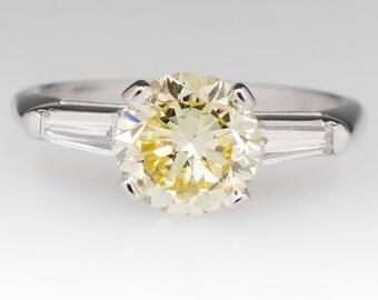 Vintage Engagement Ring - 1.7 Carat Natural Fancy Yellow Diamond - GIA Certified Diamond - Platinum Engagement Ring - CNGL12007