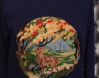 Navy Blue Sweatshirt customize canvas vintage deer pattern