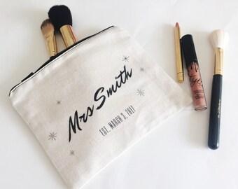 Wedding gift - bride gift - Custom Makeup Bag with new last name - mrs bag - mrs makeup bag - bridal shower gift - option to add a gift card