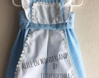 Alice in Wonderland baby dress - blue tea party dress - toddler dress - 3 months, 6 months, 12 months, 18 months