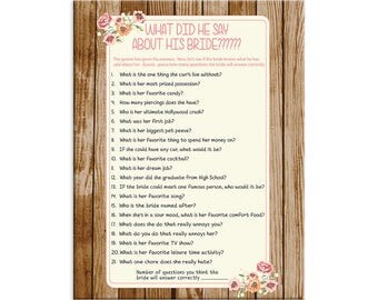 Bridal Shower Game, What did he say about his Bride, Instant Download, Wedding Shower, Game Couples, Wood, Coral