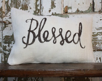 Burlap or Canvas Blessed Pillow Cover 12x16. Throw Pillow
