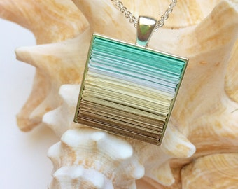 Paper necklace, paper jewelry, pendant necklace, Upcycled jewelry, Bold statement, First anniversary, fashion jewelry, gift for her