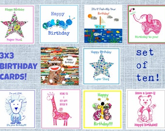 Children's Birthday Cards. 3x3 enclosure cards for boys and girls.