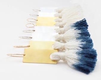 Tassel Drop Earrings Indigo Hand Dip Dyed