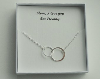 Gift for Mom, Sterling silver eternity necklace, Eternity circle necklace, Circle necklace, Mother of Bride gift