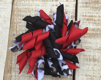 Red Black and Cheetah Korker Bow - Korker hairbows