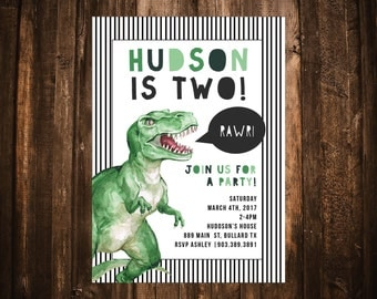 Dinosaur Birthday Invitation; T-Rex; Watercolor; Printable or set of 10