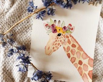 Giraffe with Flower Crown Original 8x10 Watercolor Painting // Nursery Art // Home Decor // Shower Gift // Whimsical Animal Art