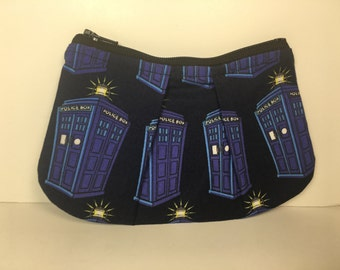 Doctor Who Tardis Police Box Pleated Zippered Coin Purse Pouch Bag