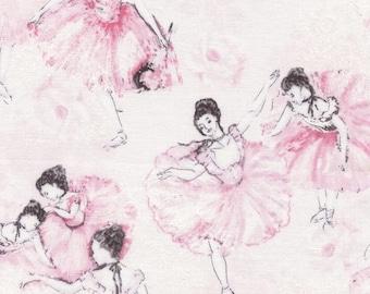Ballerinas in Pink, White Motifs, Blush, Ballet, Timeless Treasures, (By 1/2 yd)