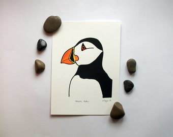 Hand Printed Atlantic Puffin Screen Print with Colour - 174x238mm - PRINT ONLY