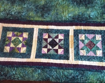 "Batik Stars table runner.  39"" x  16""  hand quilted"