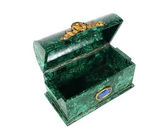"""Russian Malachite 10"""" Coffin Box w/Beautiful Dome top"""