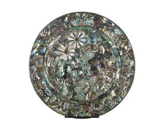 Los Castillo -Beautiful Silver & Abalone inlaid Dish