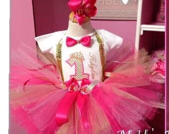 Princess 1 Hot pink and gold tutu set