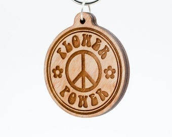 Flower Power Keychain - Flower Peace Sign Charm Carved Wood Key Ring - Retro Sixties Flower Power Peace Symbol Bohemian Engraved Charm
