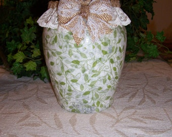 Green/White Leaf Tissue Decoupage Glass Vase