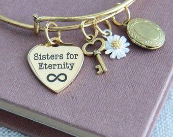 Sisters Bangle Bracelet, Sisters for Eternity Bracelet, Sisters Bracelet, Gold Bangle Bracelet, Tiny Locket Bracelet, Daisy Flower Bracelet