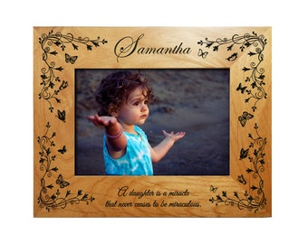 Personalized Daughters Frame - Engraved Alder Wood