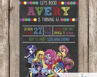 Rainbow Rocks Equestria Girls Birthday Invites - Equestria Girls Birthday - Equestria Girls Party - Rainbow Rocks Invites