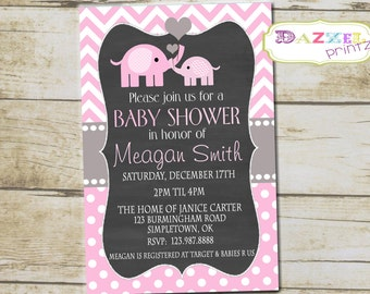 Elephant Baby Girl Shower Invitation, Pink and White Elephant Baby Shower Invite, Lil Peanut Baby Shower Invitation, Girls Baby Shower, 1006