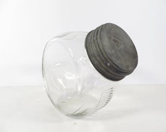Mid Century Owens Illinois Small Tilt Jar - Glass Tilt Jar with Zinc Lid
