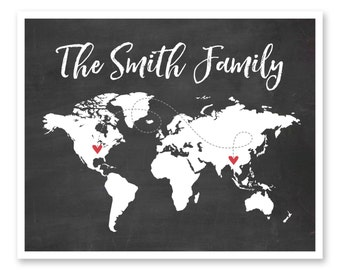 Family Map, Long Distance Family, Personalized Map, Long Distance Map, Family Map Print,Gift For Mom,Family Gift,Grandparents Gift,World Map