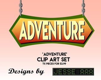 Adventure Traveling Pack Clip Art Set