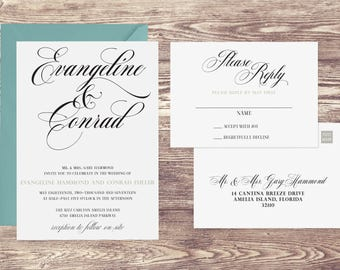 The Amelia Wedding Invitation and Postcard RSVP Set, Formal Wedding Invitations, Invitations for a Formal Wedding, Elegant Invitations