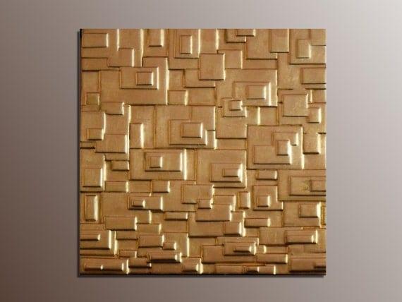 Gold Leaf Wall Sculpture Gold Wall Panel Modern Wall Art