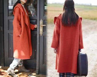 437-Women's Heavy Weight Bouclé  Sorcerer  Hooded Coat, Orange Wool Hooded Coat,  Supersized Coat, Oversized Coat,  Witchy Coat.