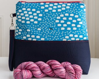 Project bag - a larger sized zipped bag with detachable wristlet, perfect for knit, crochet or sewing projects