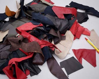 Lambskin Small Leather Scrap Pieces/Remnants Various Colors 0.4 KG