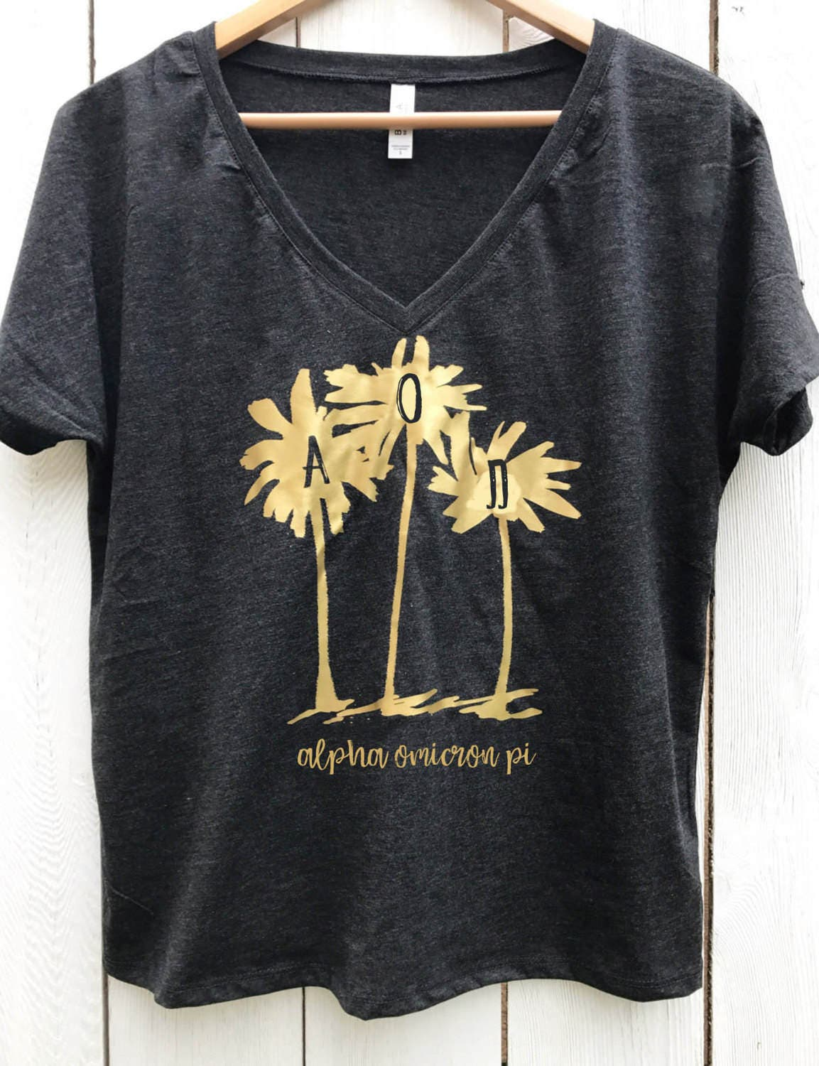 Alpha Omicron Pi Slounchy Palm Tree Tee with AOII greek letters Gold Metallic design