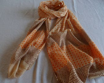 Hand blocked Cotton Scarf, block print scarf, orange and brown on a peach field, FREE SHIPPING, large scarf,cotton scarf, Boho  print scarf
