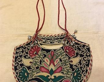 Uzbek silk embroidered bag ethnic tribal bag