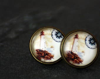 Earrings, 12 mm, sea, Lighthouse